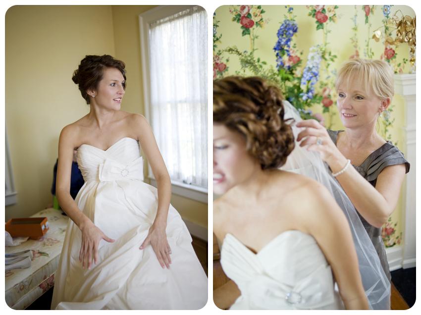 bride getting ready in bodley-bullock house lexington kentucky southern wedding