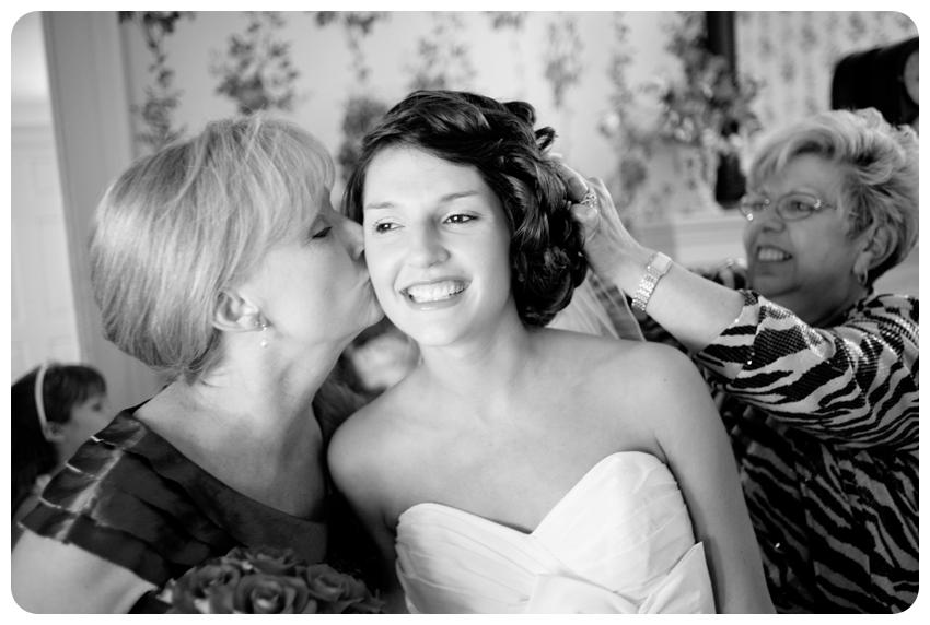 mother kissing bride black and white bodley-bullock house lexington, kentucky