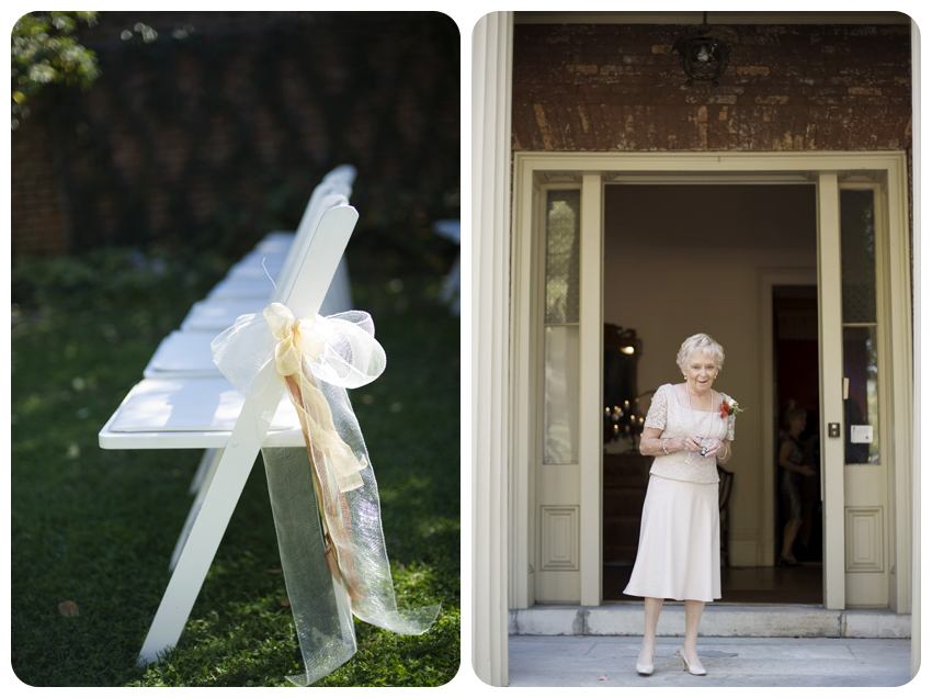 grandmother white chairs ribbons taking pictures bodley-bullock house wedding