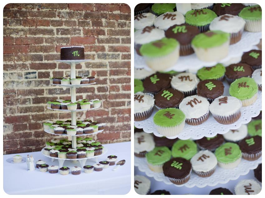 kentucky wedding cupcake tower monogrammed green brown white