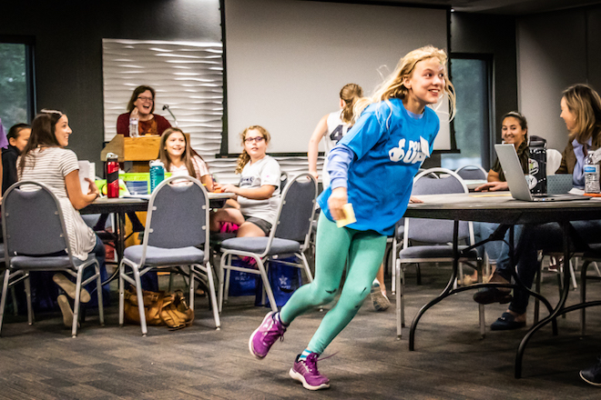 Greeley 6th-grader winning her team's post-it note relay race at PowerUp!