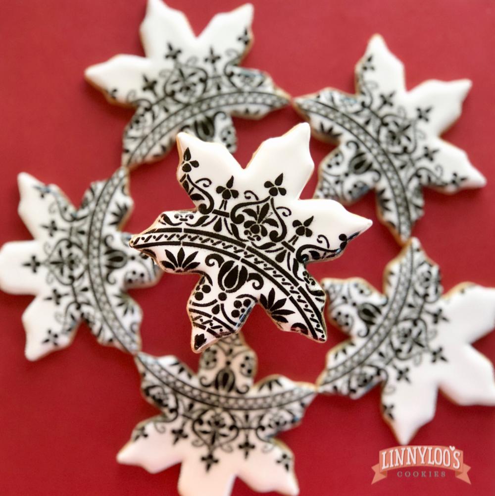 custom snowflake sugar cookie. holiday cookies, corporate cookies