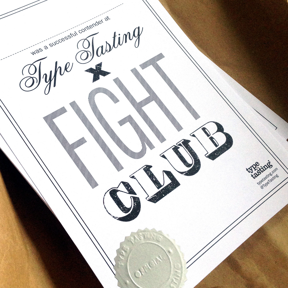 Type Tasting x WGSN fight club certificate