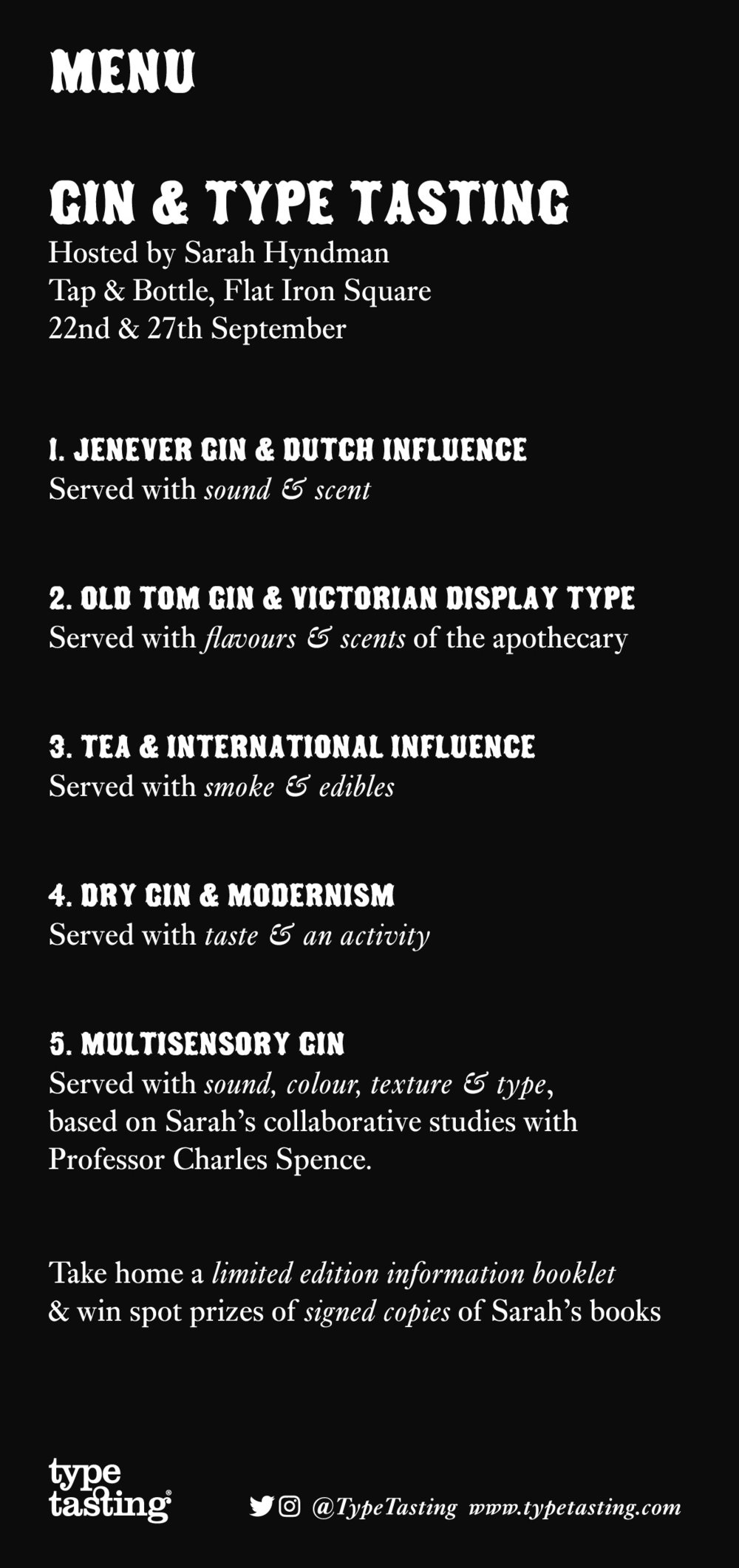 Gin & Type Tasting menu