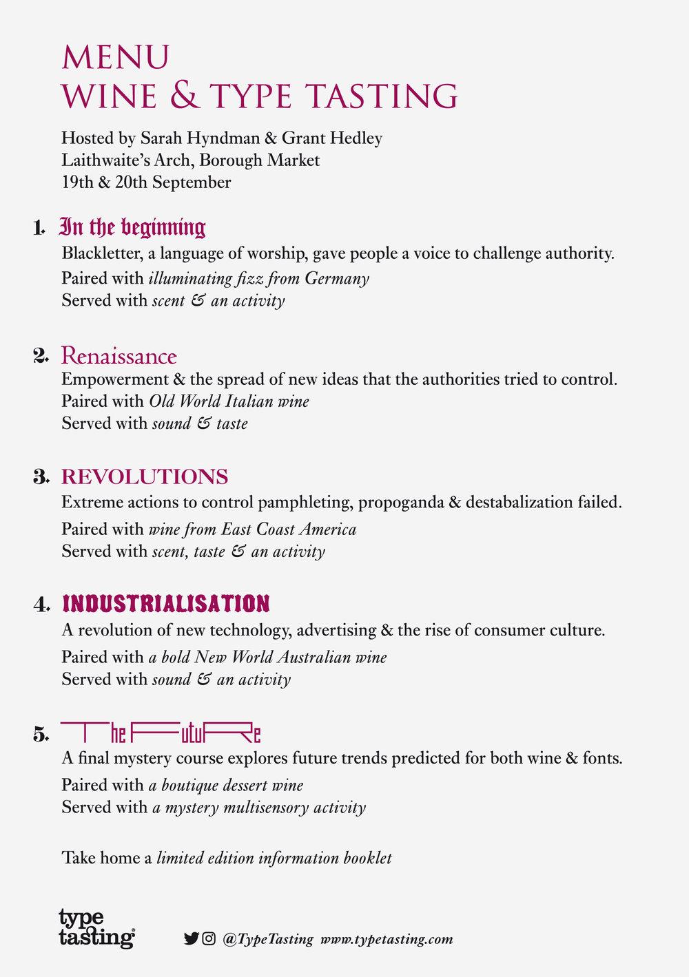 Wine & Type Tasting menu