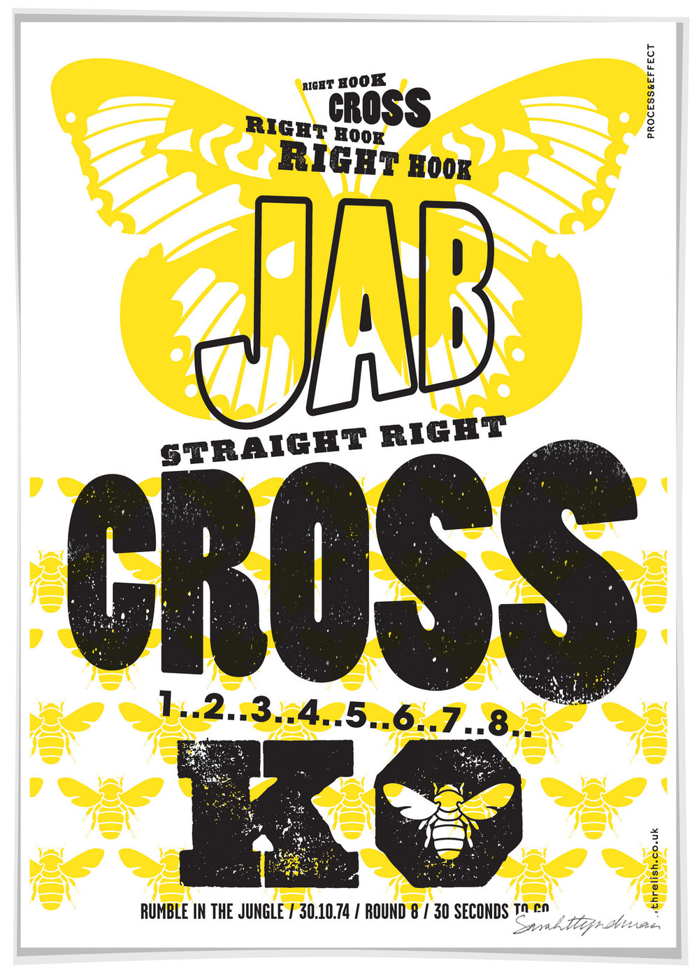 "Jab Cross ""float like a butterfly, sting like a bee""  print by Sarah Hyndman, signed Limited edition screen print £80  Dimensions 420 x 590mm, unframed Limited edition of 60  Find out more / buy    ** The poster shop will be closed from 11th to 18th January, last orders by midnight GMT on Thursday 10th January **"