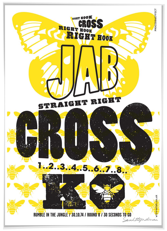 Jab Cross screen print by Sarah Hyndman