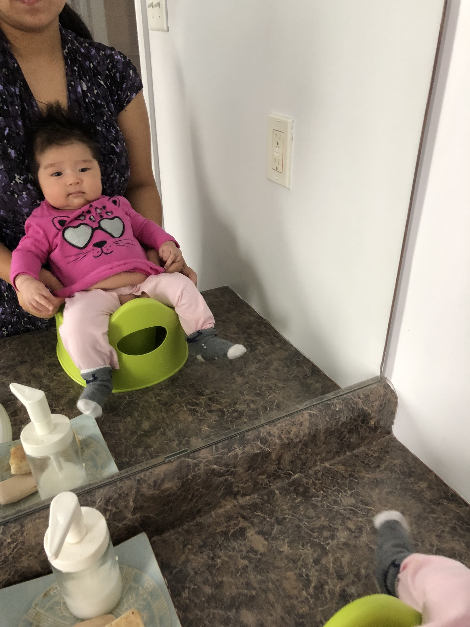 Split pants should open up when baby opens her legs to sit on the potty. They also protect her bum cheeks from touching the cold plastic of the potty.