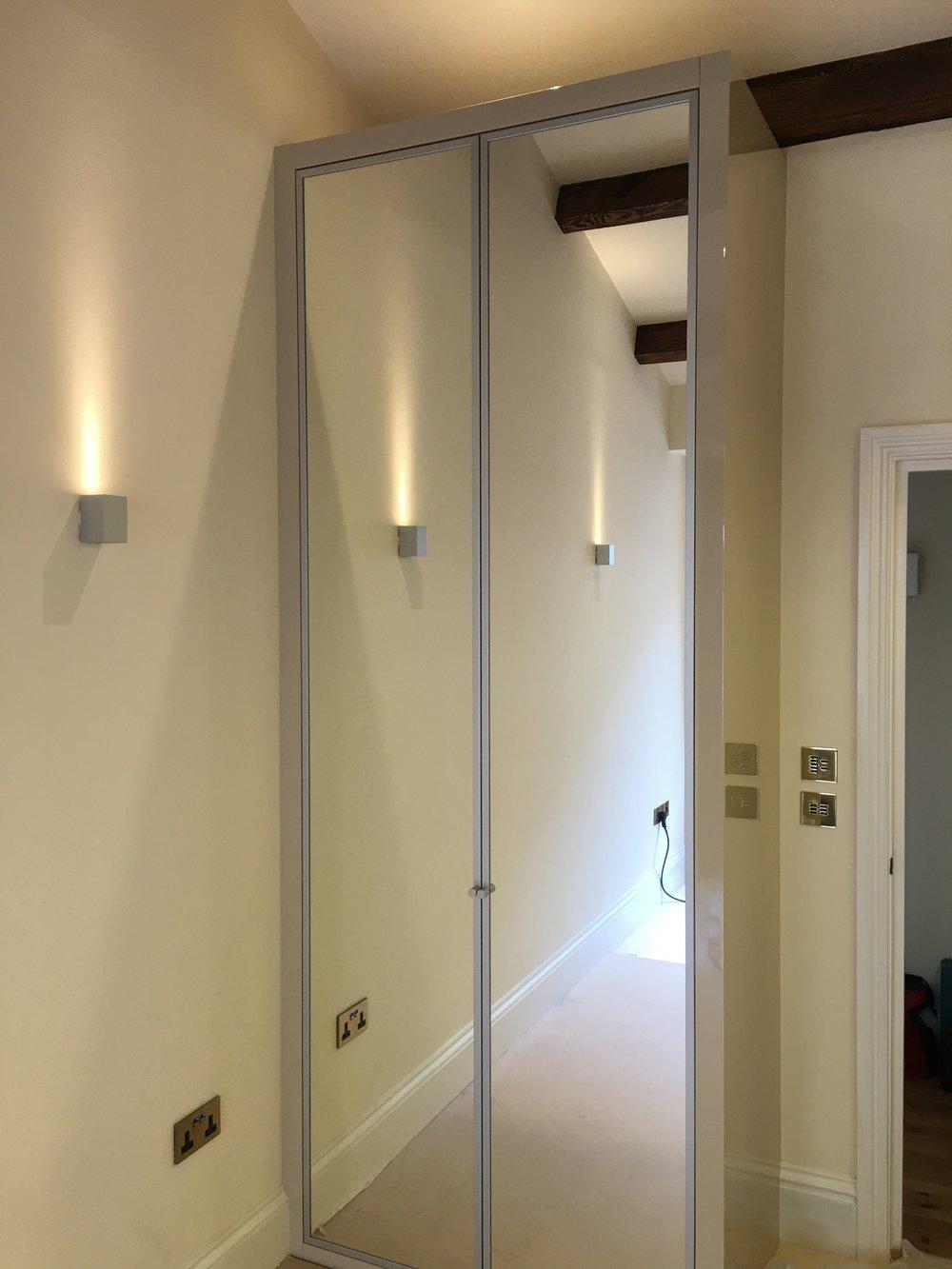 Electric sockets mounted inside wardrobe