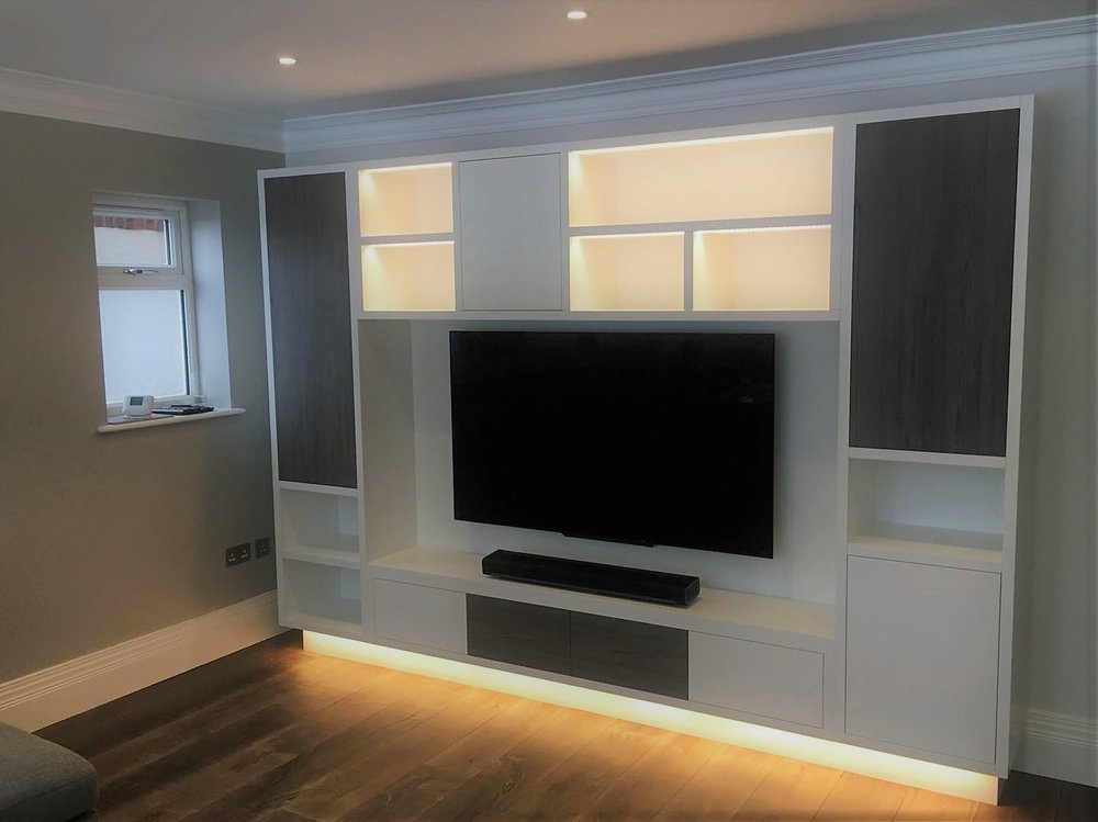 Modern TV unit with LED lights