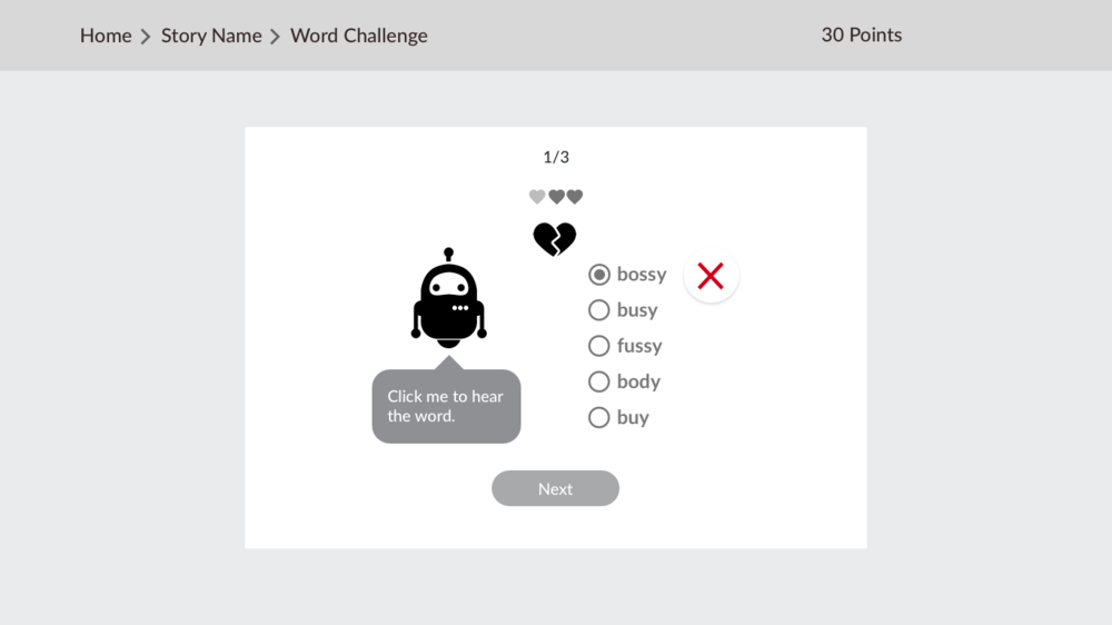 The spelling challenge activity. The player has 20 points and one heart.