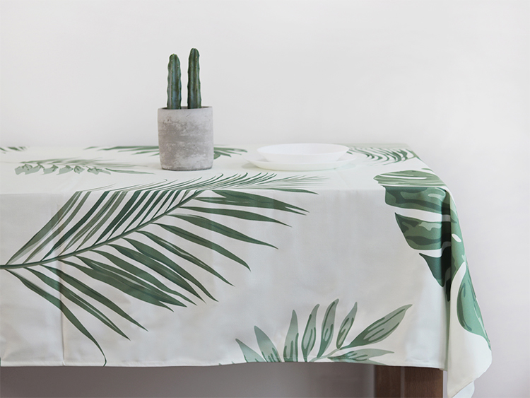 Palm Leaves Tablecloth (light Green Background)