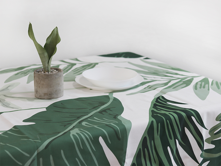 Palm Leaves Tablecloth (white Background)