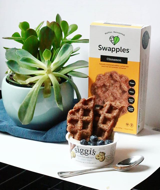 60g sugar down to 10g 😱 this WAFFLE YOGURT PARFAIT is all natural! Obsessing over @siggisdairy no-sugar-added yogurts sweetened ONLY with fruit. Swapped sugar-heavy granola for some fresh bluebs & a yuca-based Cinnamon Swapple with only 1 tsp coconut sugar. Sweet tooth be like byeeeeeee #WafflesReinvented • • • • • • • • • • • • • • #Swapples #Swapple #yogurt #protein #postworkoutfuel #onmyplate #siggis #simplefood #simpleingredients #eatrealfood #eatwell #eatgoodfeelgood #REALfood #breakfastgoals #womanowned #breakfastofchampions #nosugaradded #naturallysweetened #sugardetox #cleaneating #thenewhealthy #thesweatlife #healthymorning #kidfriendly #waffles #kidtestedmotherapproved #onthego #getinmybelly #droolclub