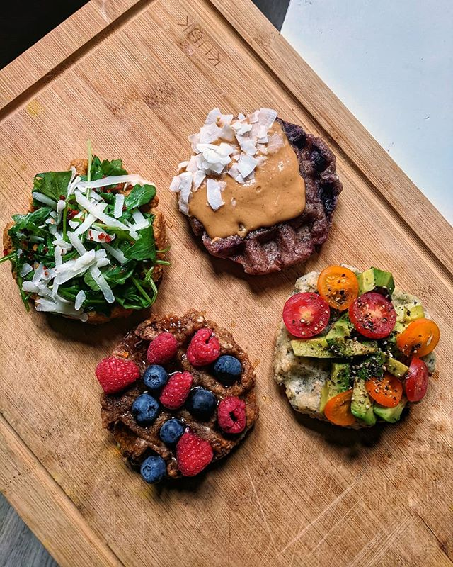 Talk breakfast to me 😉 #WafflesReinvented • • • • • • • ☝🏼Tomato Basil (fka Pizza!) + arugula, evoo, cheese ☝🏼 Blueberry + nut butter ☝🏼 Cinnamon + berries ☝🏼 Everything + avo + tomato • • • • • • • • #waffles #yucaroot #paleorecipes #veganfood #veganfit #plantstrong #plantprotein #plantpowered #plantbased #healthymorning #healthybreakfast #healthybrunch #kidfriendly #kidtestedmotherapproved #nutbutter #avocadotoast #onmyplate #healthyfood #goodcarbs #guthealth #goodfats #feedyoursoull #rdapproved #thenewhealthy #bestofvegan #saturdaymorning #eatgoodfeelgood #eatmoreplants #iamwellandgood
