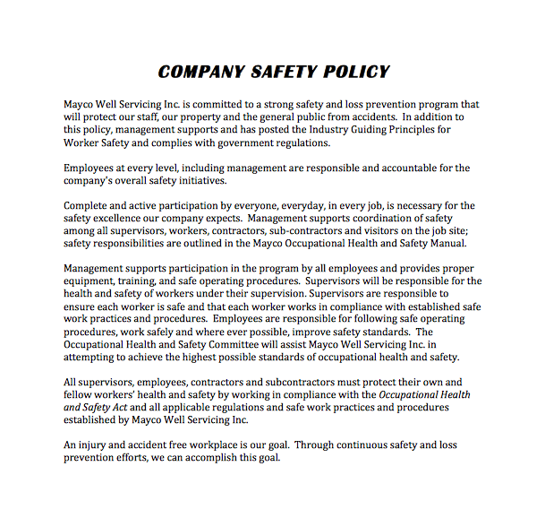 Company Safety Policy