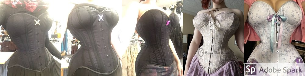 The evolution of my daily wear corsets! All by me, Crimson Rose Corsetry.