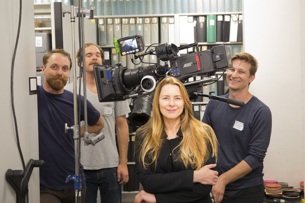 Producer Allison McGourty and film crew in the Sony Archives  ©2017 Lo-Max Records Ltd.