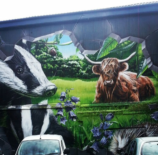 An urban window to the ideal countryside - graffiti at the Ingram St carpark next to Graven