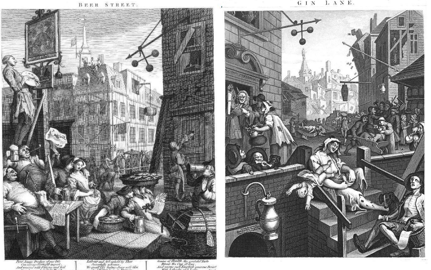 William Hogarth's 'Beer Street and Gin Lane' - a famous set of images condemning gin drinking as the catalyst for societal ruin. [courtesy of http://brewscruisechicago.com/wp-content/uploads/2014/03/hogart-gin.jpg]