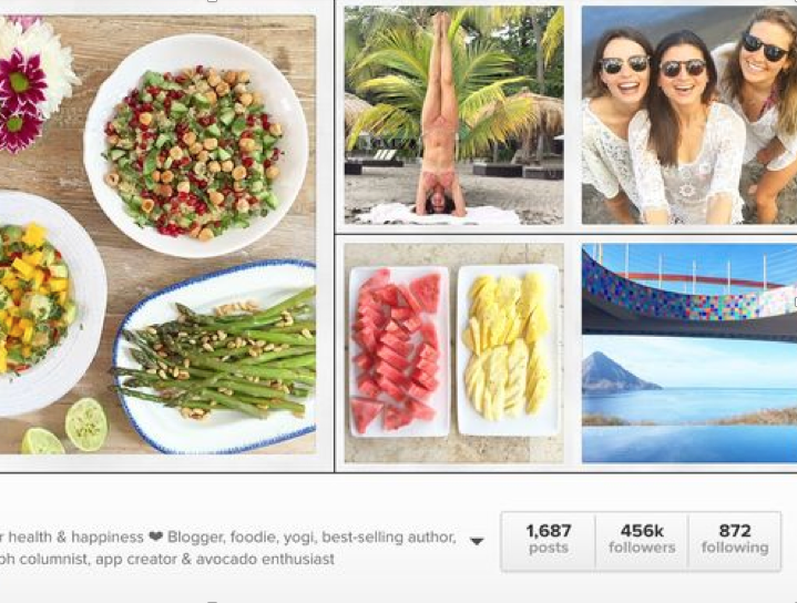 Detox your social media of 'bikini bodies', prescriptive diets, and anyone doing a handstand on a beach.  Image from Deliciously Ella's Instagram account in 2017.
