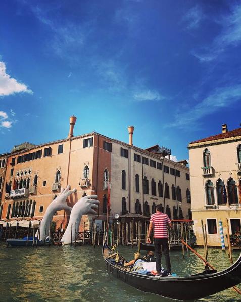 "ECA canal cruise: Lorenzo Quinn's ""Support"""