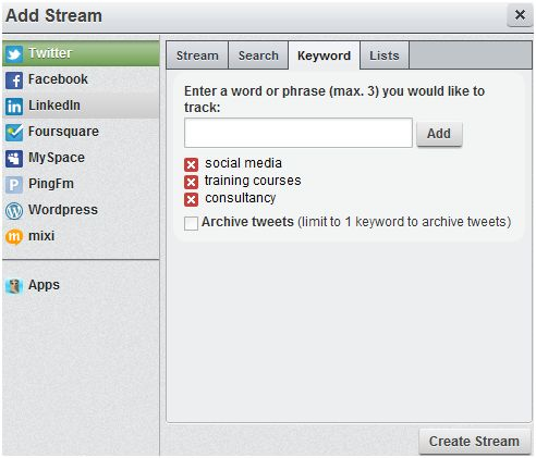 keyword tracking using hootsuite for social media management