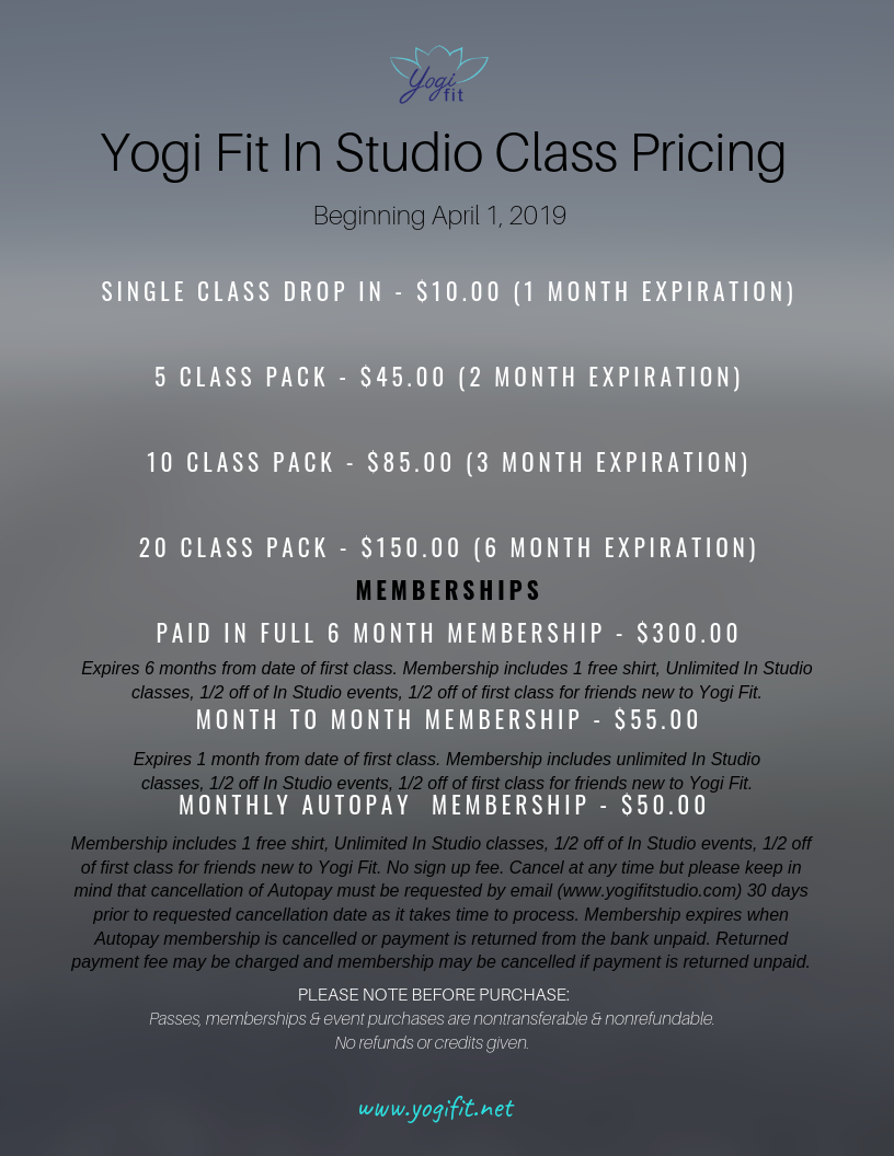 10 Class Pack $85.00 20 Class Pack $150.00 5 Class Pack $45.00 6 Month Membership - Paid In Full $300.00 Month to Month Unlimited $50.00 Monthly Unlimited $60.00 Single Class Drop In $10.00 Autopay_Contract Billing C.png