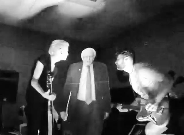 #fbf That time Bernie stepped in • • • #creuxlies #bernie #2016 #postpunk #newromantic #darkwave #sacramento #sacmusic #sacmusicscene #darkwave #synthwave #shoegaze #newromantic #goth #deathpop #roland #rolandg77 #synthbass #fender #jaguar #earthquakerdevices #ironether #analog #synth