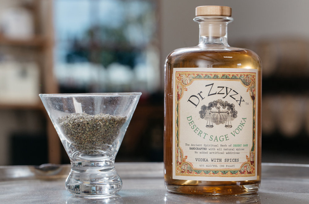 DESERT SAGE - The great outdoors in a bottle.  Our Desert Sage vodka captures the fresh, invigorating breeze of sage-filled desert air.  Infused with a combination of mediterranean and white sage.  100% corn, gluten free & all-natural.  NO ADDITIVES.