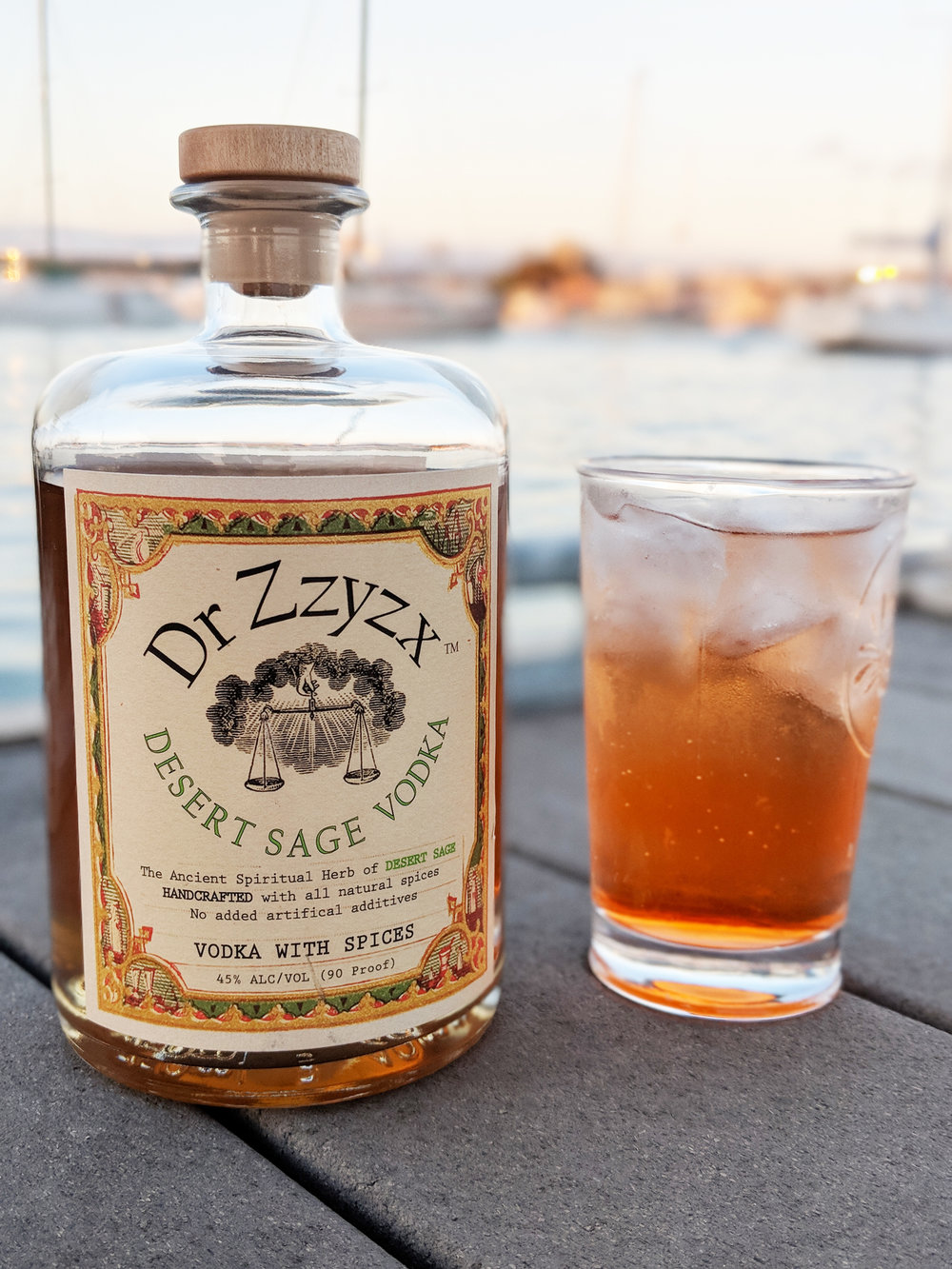 SAGE SUNSET  - 2 oz Dr Zzyzx Desert Sage Vodka1.5 oz 7 Up1.5 oz club sodaTop with a splash of Aperol