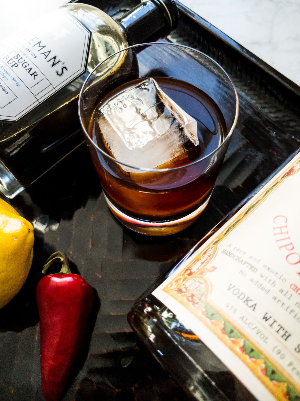 DEATH VALLEY OLD FASHIONED - Muddled red jalepeno & lemon1/4 Tippleman's Burnt Sugar Syrup 2 oz Dr. Zzyzx Chipotle Vodka