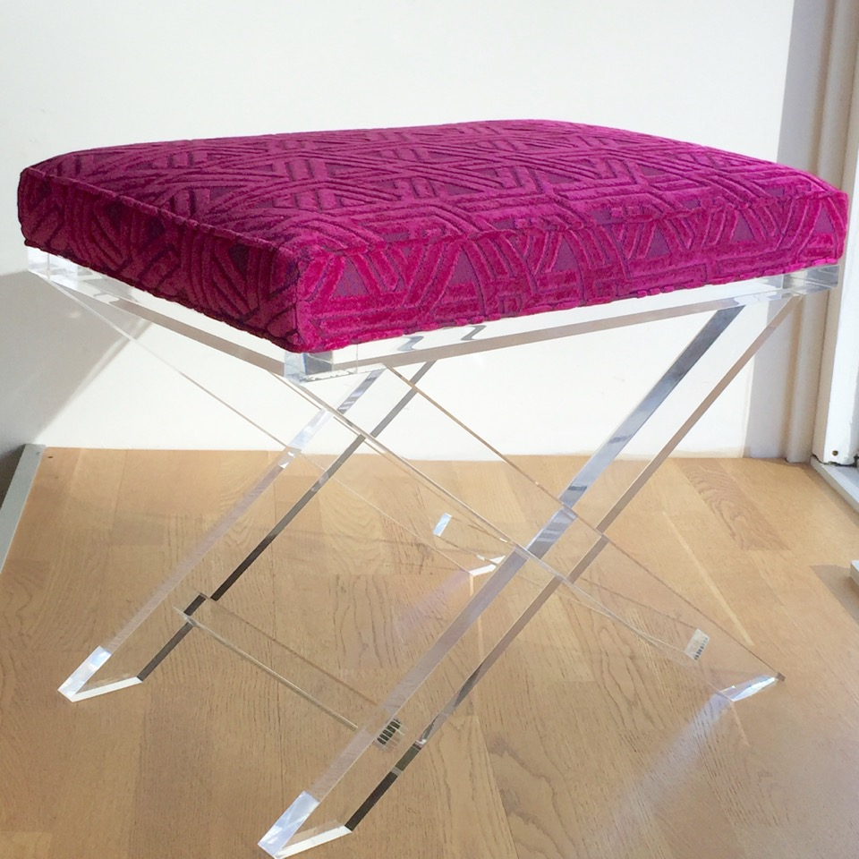 "Decorum Custom Lucite ""X"" bench.jpeg"