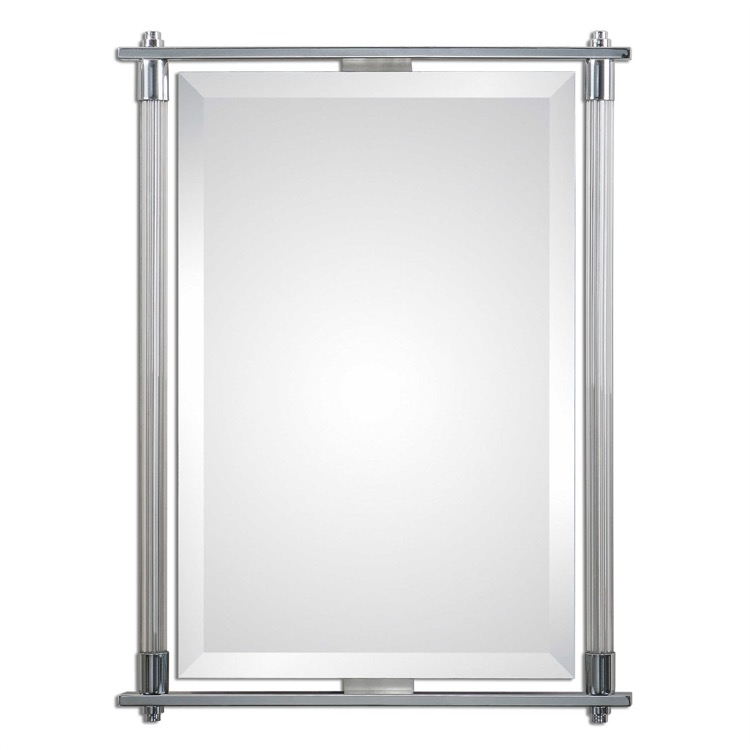 "Polished chrome and glass vanity mirror 26"" by 34.jpeg"