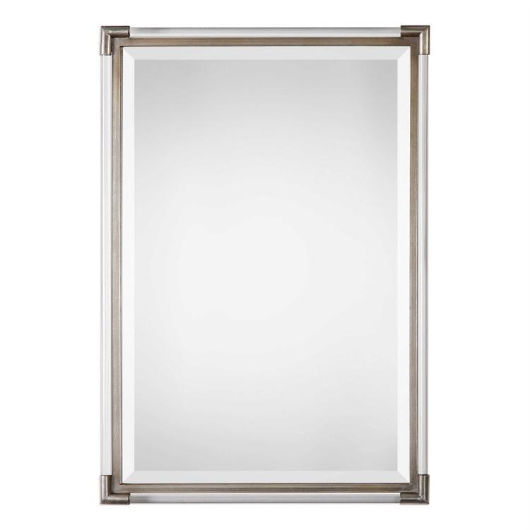"""Silver leaf with acrylic rod frame mirror 23"""" by 33.jpeg"""