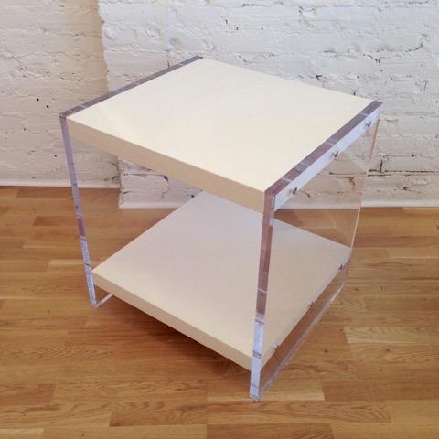 Decorum Custom Lucite Side Table Grey, Cream, Black.jpg
