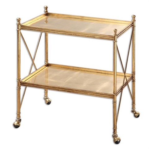 Contemporary gold  serving cart 28 W X 30 H X 17 D in.jpeg