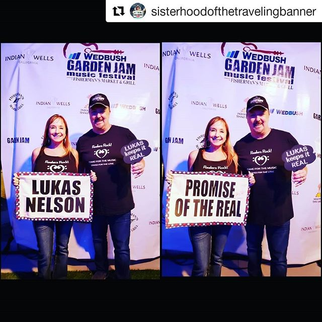 Fun times last night at the Wedbush Garden Jam Music Festival at the Indian Wells Tennis Garden! Let's have a double!  #Repost @sisterhoodofthetravelingbanner ・・・ Representing @lukasnelsonofficial #gardenjam  Keep tagging your posts #gardenjam!