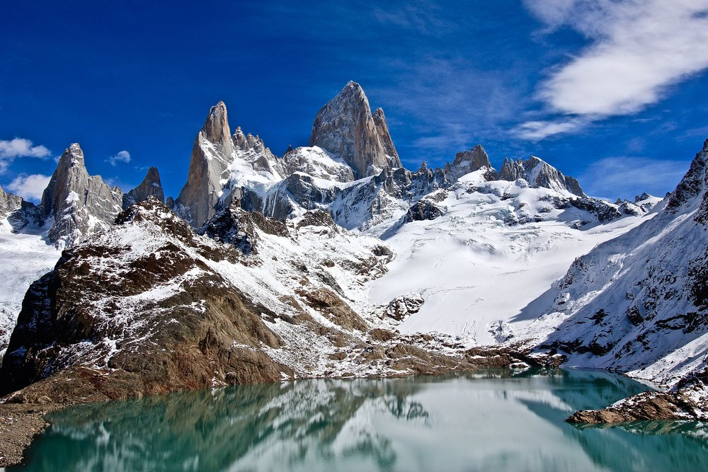 Endpoint of the Fitz Roy Trek - a lake called Laguna de los Tres, with Monte Fitz Roy in the distance
