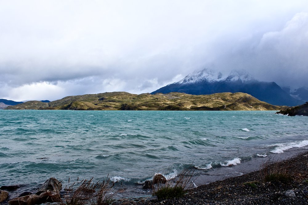 Shores of Lago Sarmiento, one of four well-known lakes in Torres del Paine