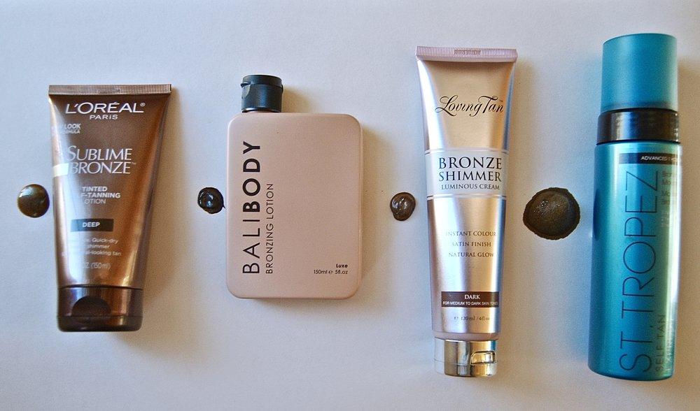 Side-by-side comparison of my favorite self-tanning products