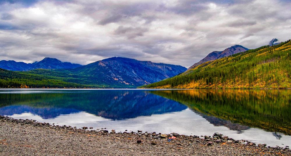 A calm Kintla Lake before sunset