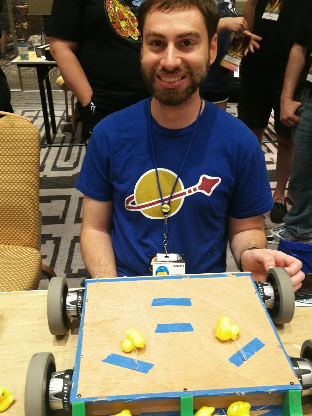 Eric of Team Space Force with their bot Even More Squeaky Ducks