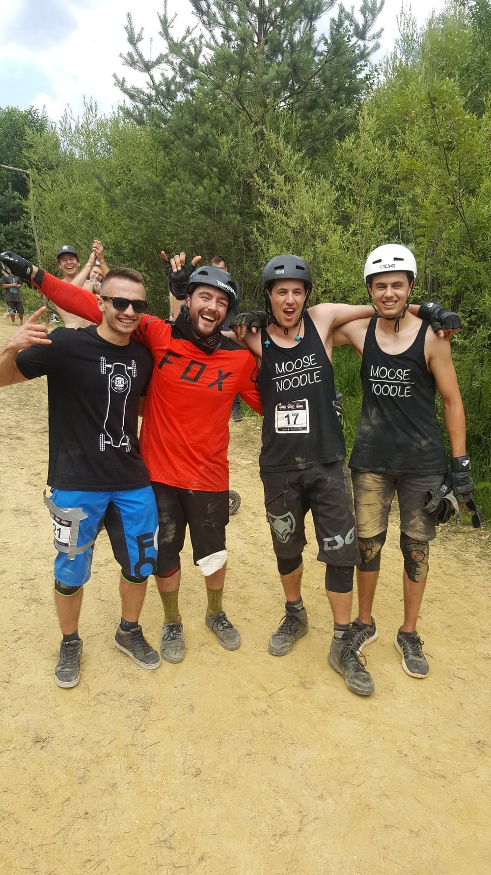 Kody (red shirt) and Matt (#17) after some races at the World Mountainboard Championships