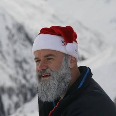 Bernhard Aeschbacher with his beard whitened for Clau Wau. photo courtesy of Bernhard