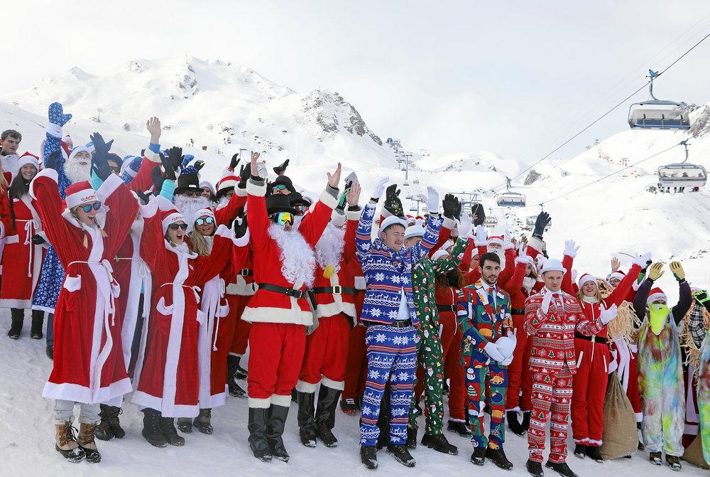 Whole lotta Santas! Photo courtesy of  Engadin Samnaun Val Mustair