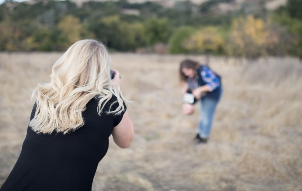 Steph Asavale, photographing mother and small business owner photographer with her son for a branding session, in Morgan Hill, California.