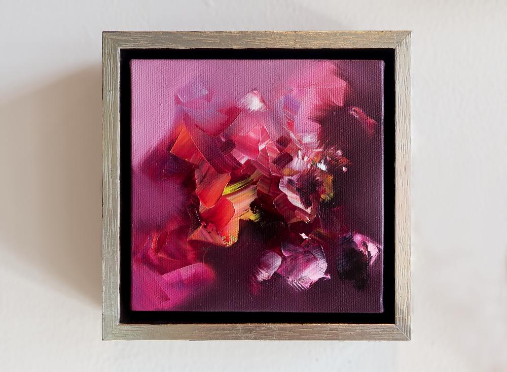 """Scintilla V  6"""" x 6"""", fr. oil on canvas $800"""