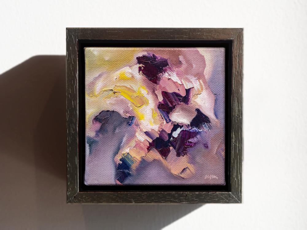 "Scintilla II  5"" x 5"", fr. oil on canvas $750"