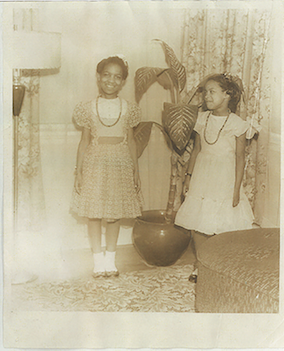 Avel Gordly and Faye Marie Burch in Gordly-Burch family home, 4511 N. Williams Ave in Portland, Oregon, age 10 and age 8, Gordly-Burch Family Archive.
